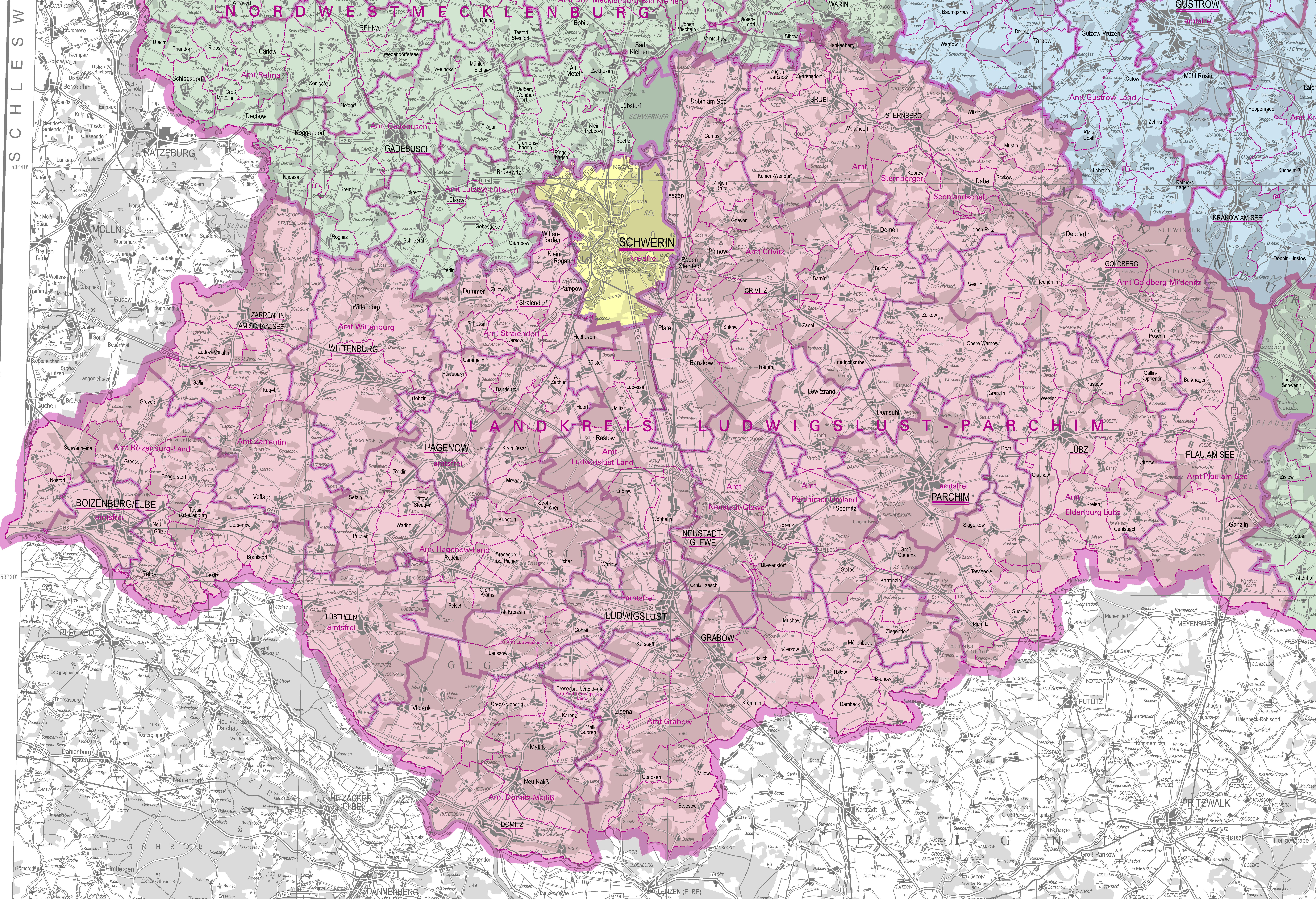 Landkreis Ludwigslust Parchim Karte