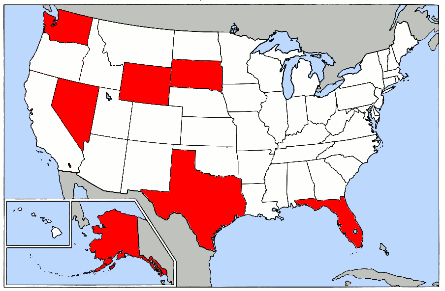Map of the United States showing in red states that have no state income tax as of July, 2005.