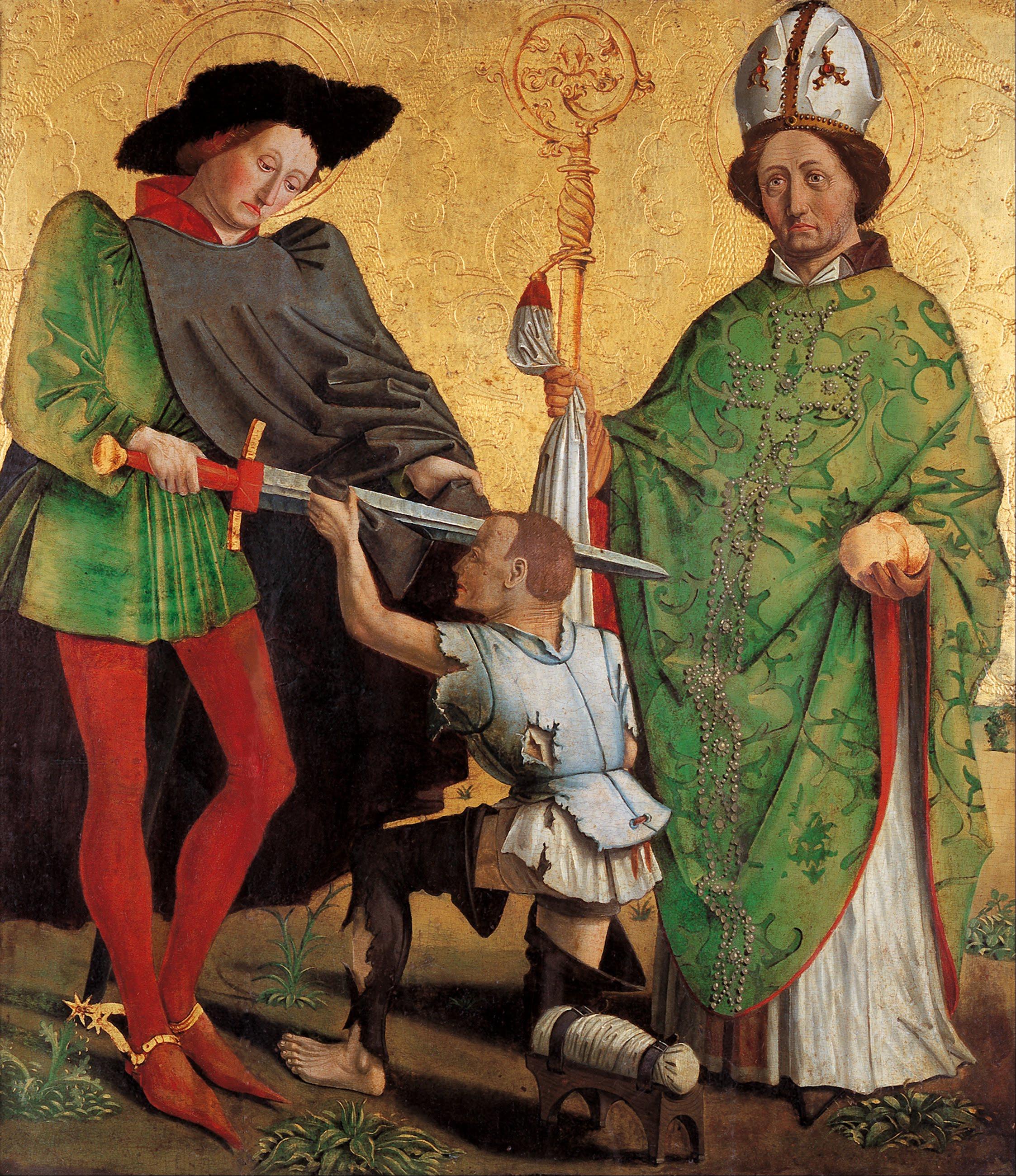 Der hl. Martin teilt seinen Mantel. Gemäldes des Meisters von Uttenheim, um 1475. (Adelaide, Art Gallery of South Australia.)