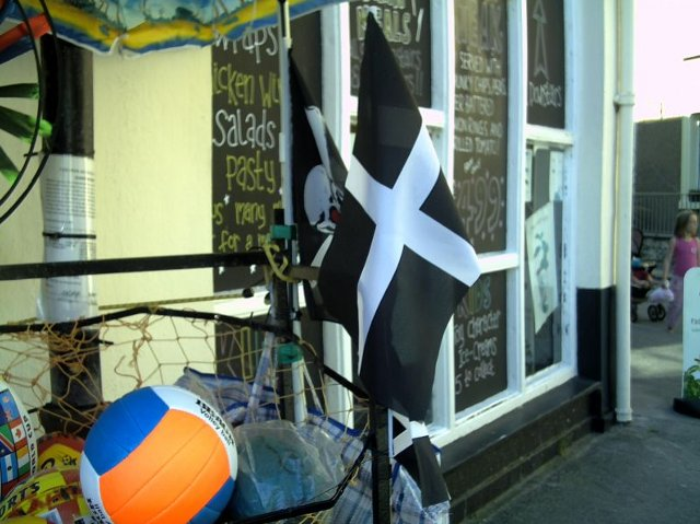 Souvenir flags outside a Cornish caf