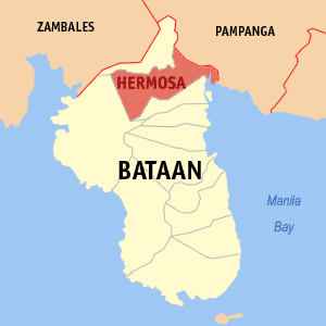 Map of Bataan showing the location of Hermosa