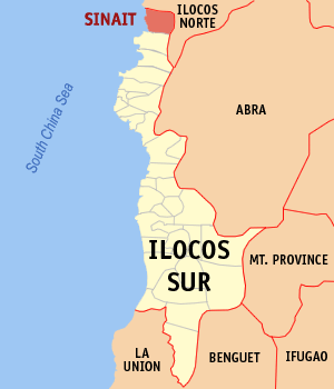 Map of Ilocos Sur showing the location of Sinait