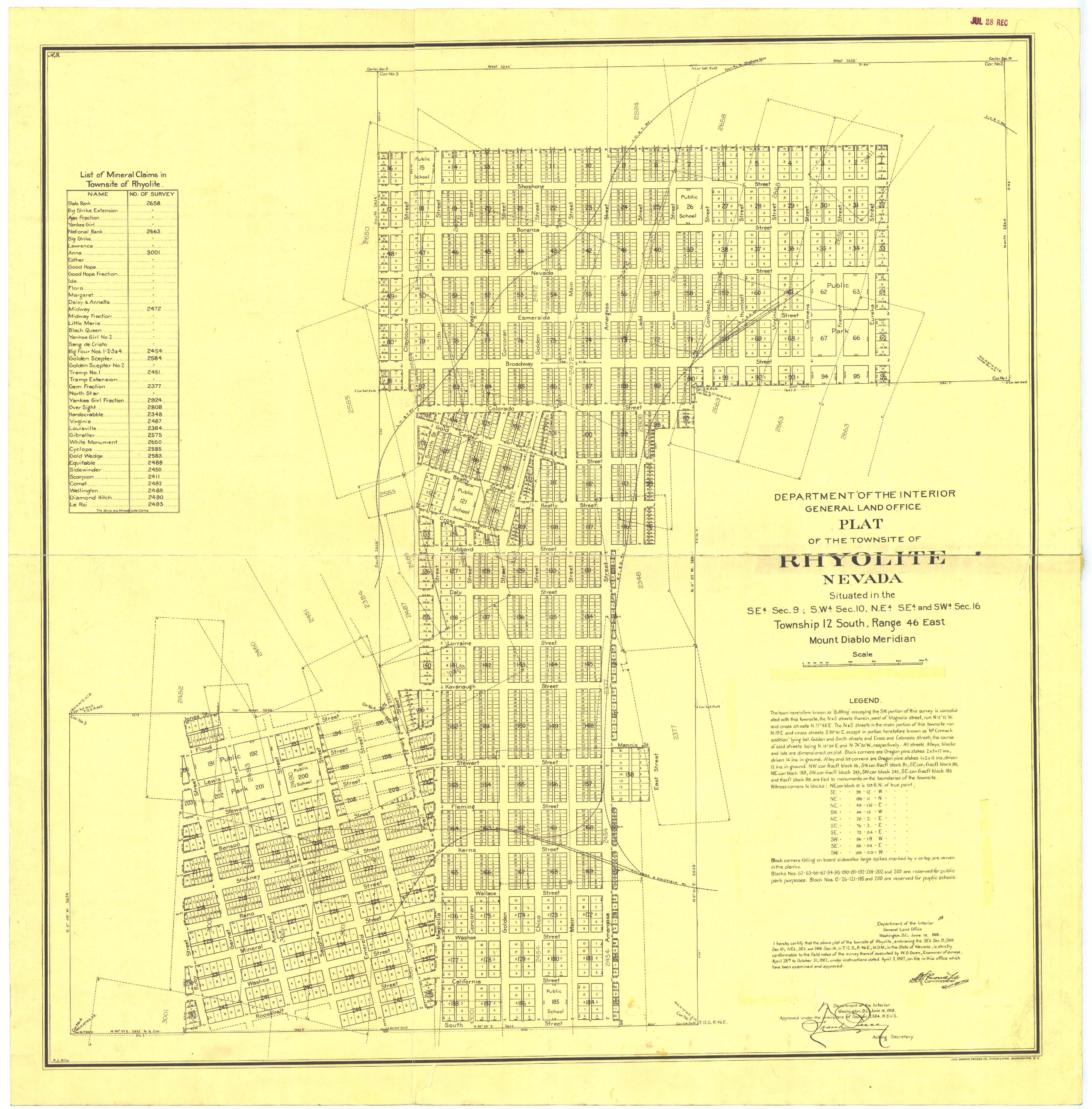 Rhyolite Nevada Map File:Rhyolite.nv.usa.townsiteplat.1908.png   Wikimedia Commons