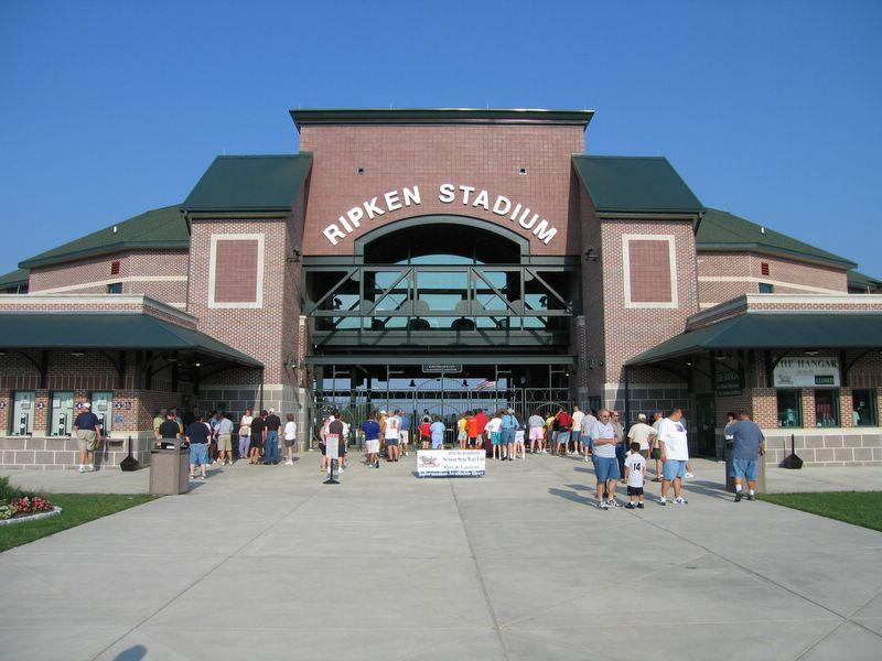 The entrance of Ripken Stadium