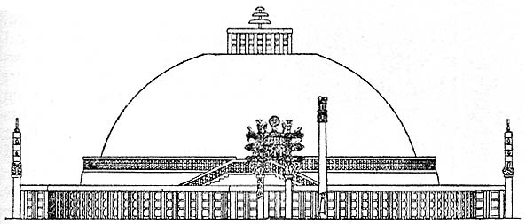 Design of the 'Great Stupa' at Sanchi.
