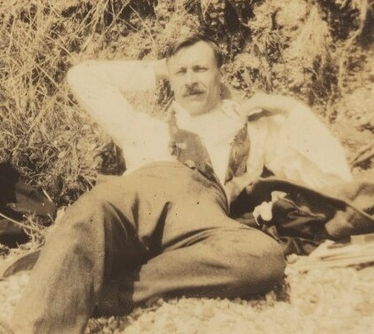 Snapshot by Ray Strachey of Saxon Sydney-Turner, reclining at the beach
