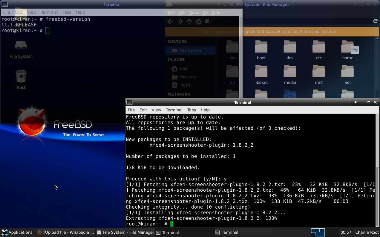 File:Screenshot of FreeBSD 11 1 with XFCE desktop