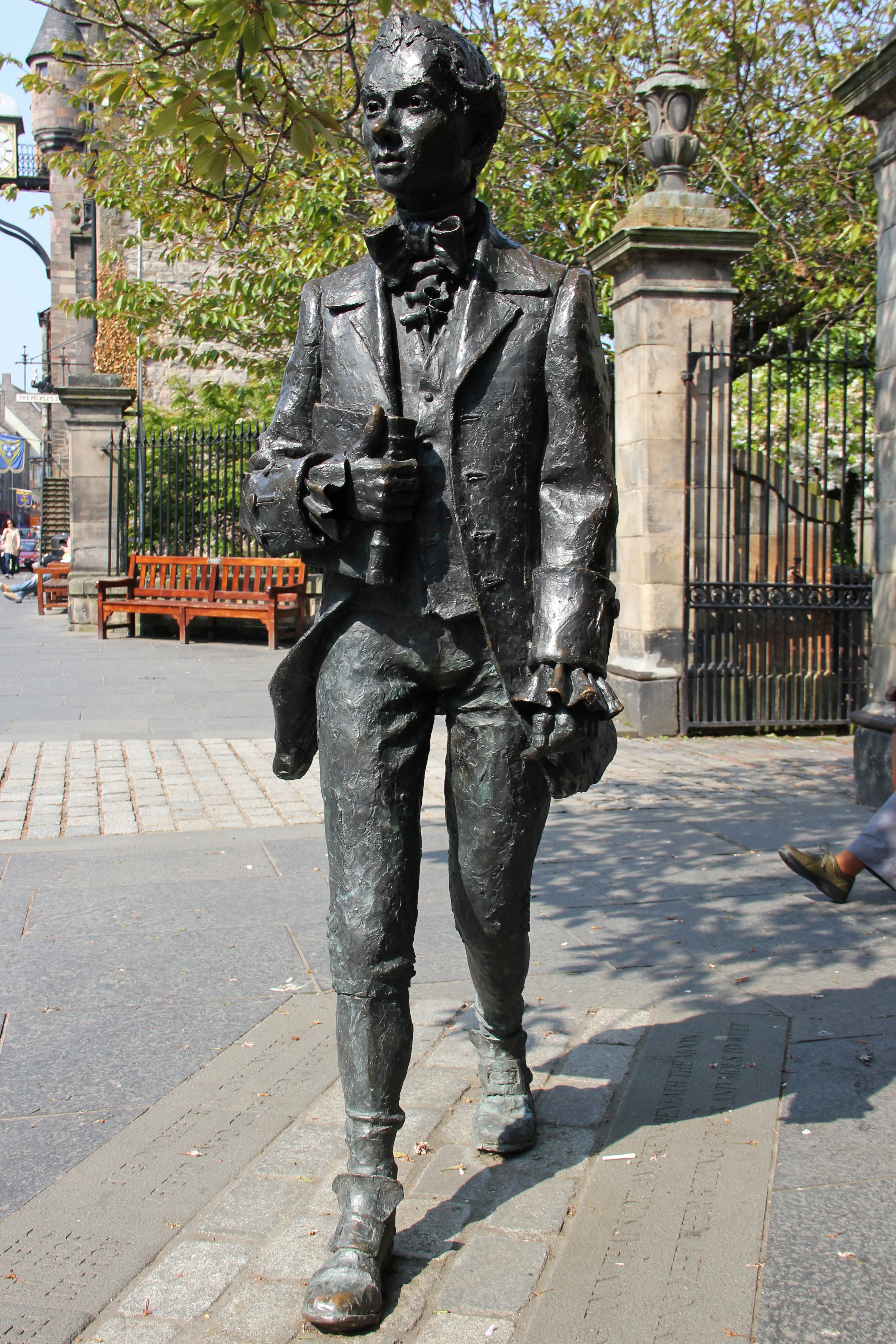 Statue of Robert Fergusson outside the Kirk of the Canongate, Edinburgh