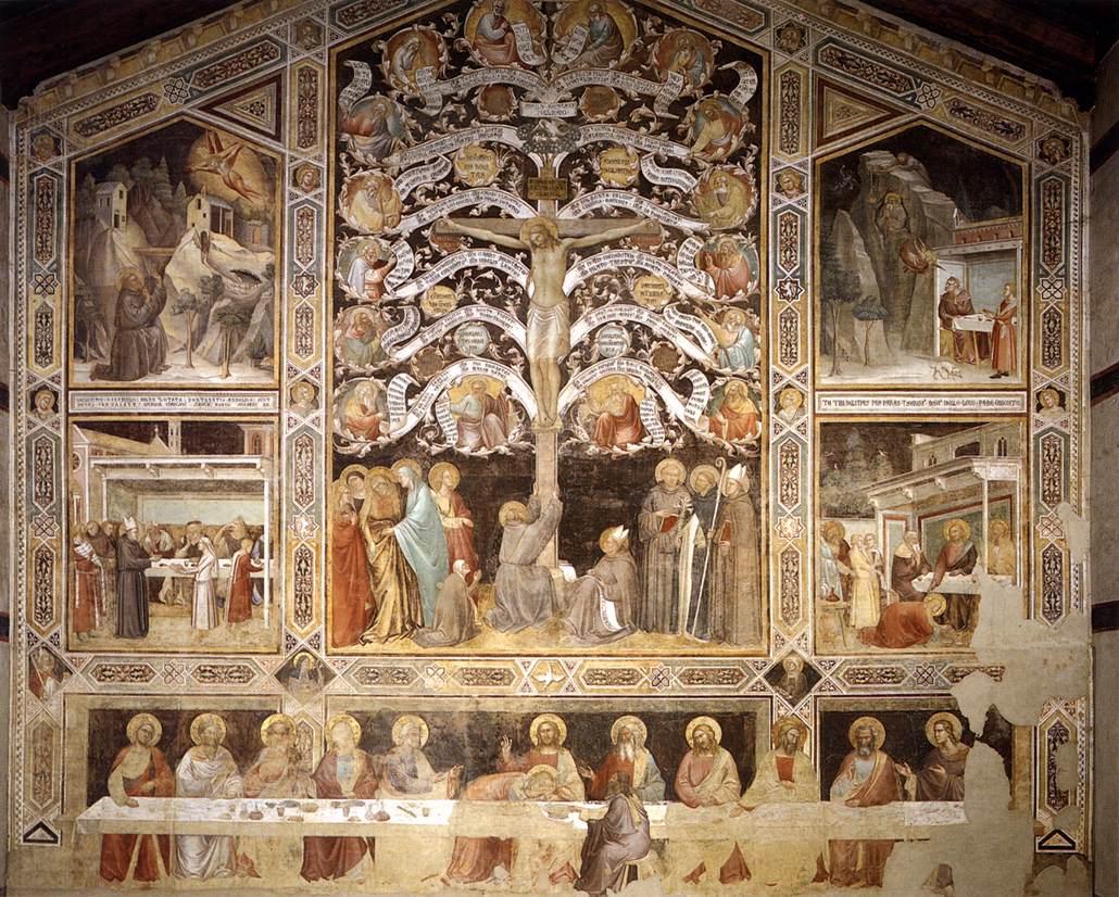 Taddeo Gaddi - Last Supper, Tree of Life and Four Miracle Scenes - WGA08387.jpg