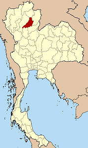 Map of Thailand highlighting Phrae Province}