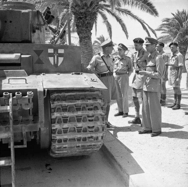 King George VI inspects a captured Tiger I tank