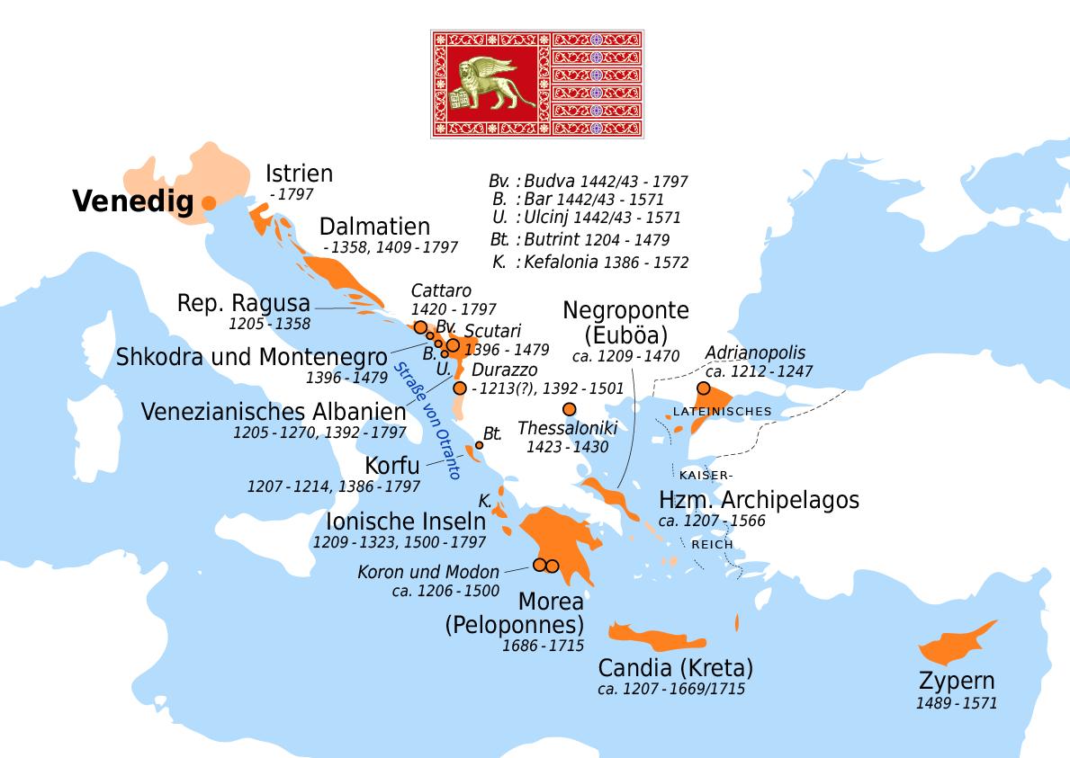 Posesiones en el Mediterráneo de la República de Venecia (Fuente: http://upload.wikimedia.org/wikipedia/commons/3/39/Venezianische_Kolonien.png)