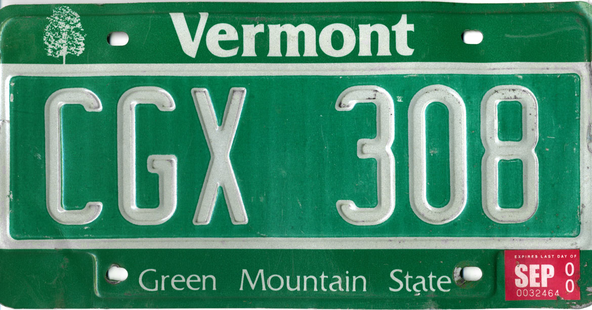 Vehicle Registration Plates Of Vermont