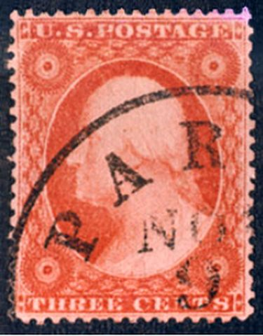 The first officially perforated United States stamp (1857). Washington 1857 1st perf-3c.jpg