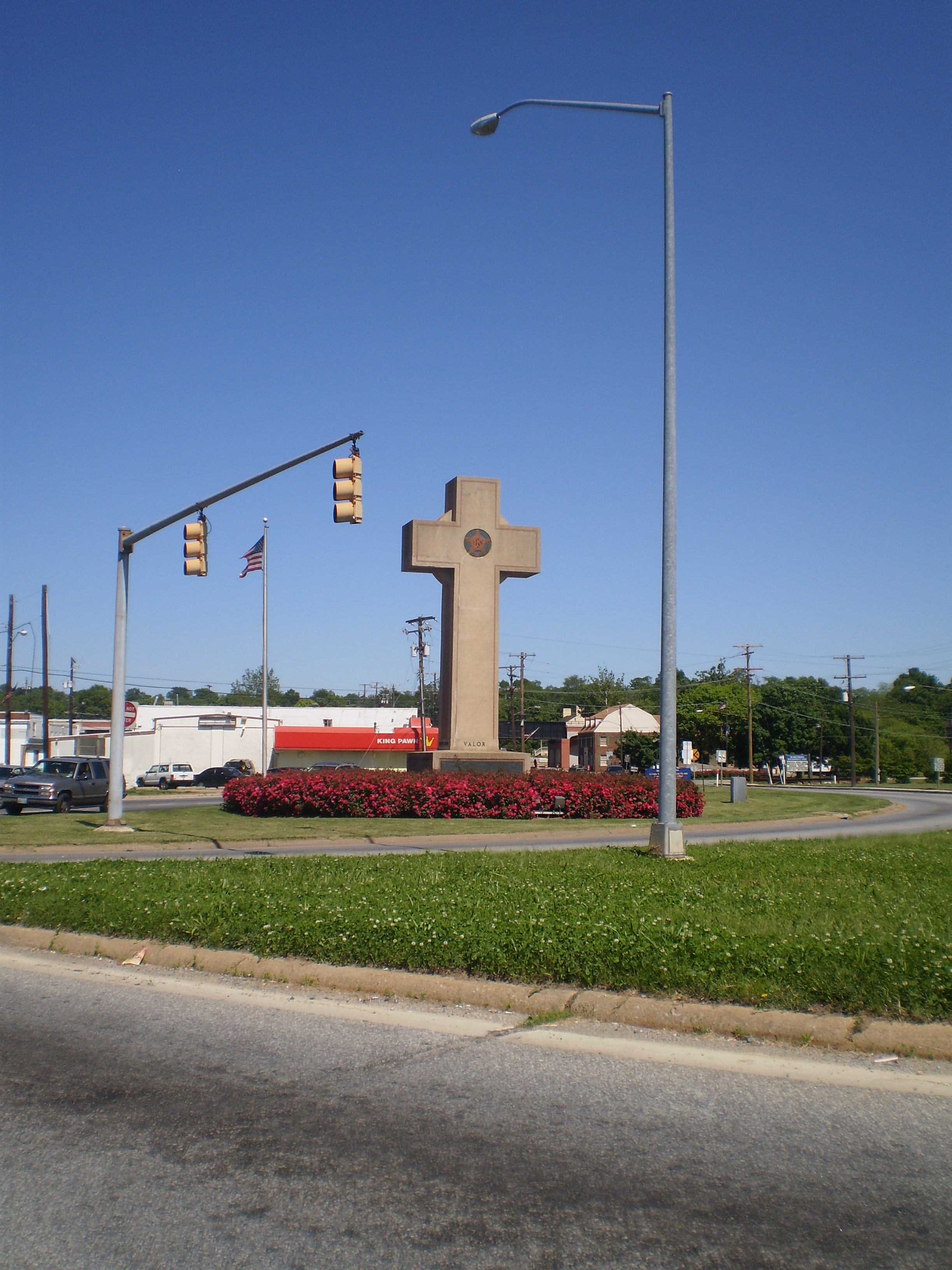 A war memorial is in the form of a cross. Is that a problem?