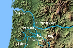 Vancouver is on the Columbia River between two mountain ranges.