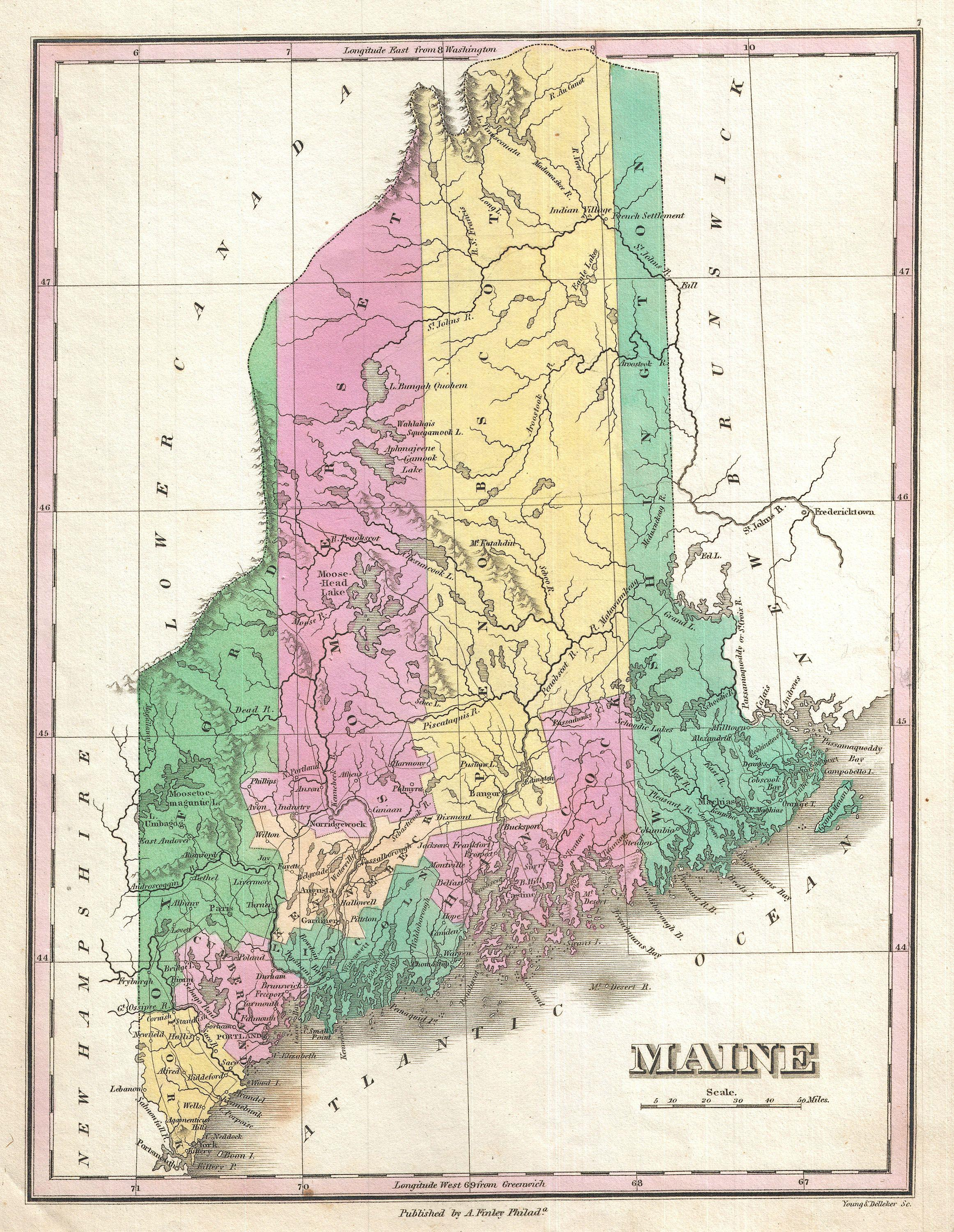 File:1827 Finley Map of Maine - Geographicus - Maine-finley ...