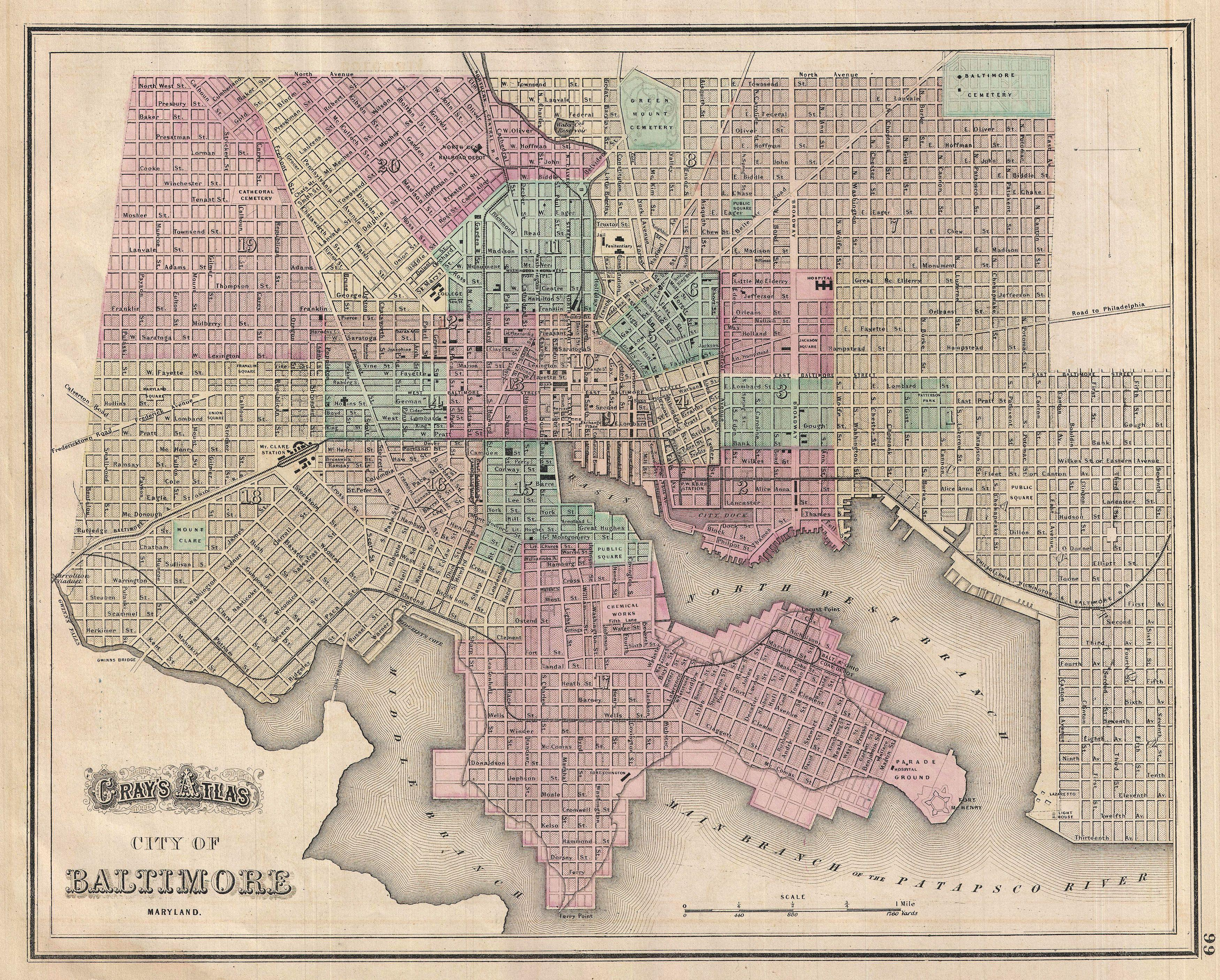 file 1874 gray map of baltimore maryland geographicus baltimore gray wikimedia. Black Bedroom Furniture Sets. Home Design Ideas