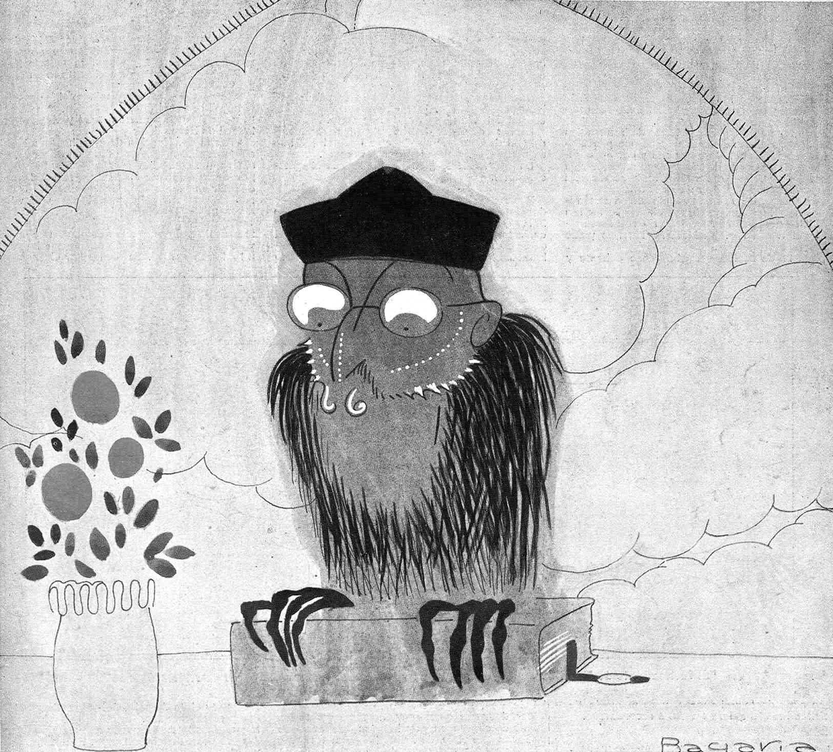 «Don Miguel el agorero». Caricaturizado por Bagaría en La Esfera (1916)