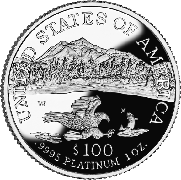 reverse side of the 2002 American Platinum Eagle proof coin