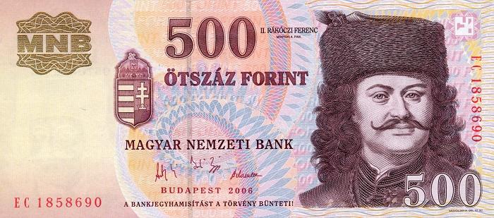 Obrázek k otázce: Jaké nejmenší jsou maďarské bankovky?