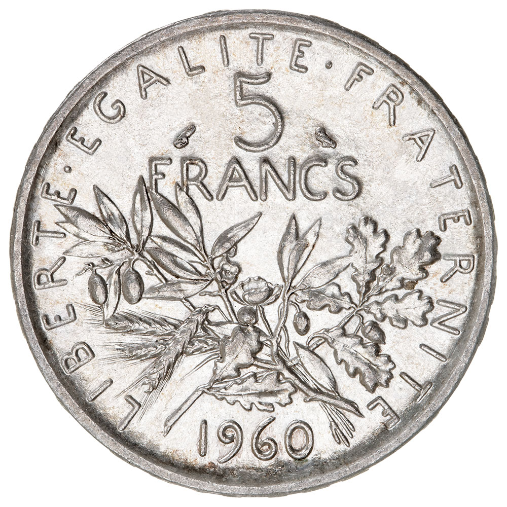 File 5 french francs semeuse silver 1960 f340 4 reverse for France francs