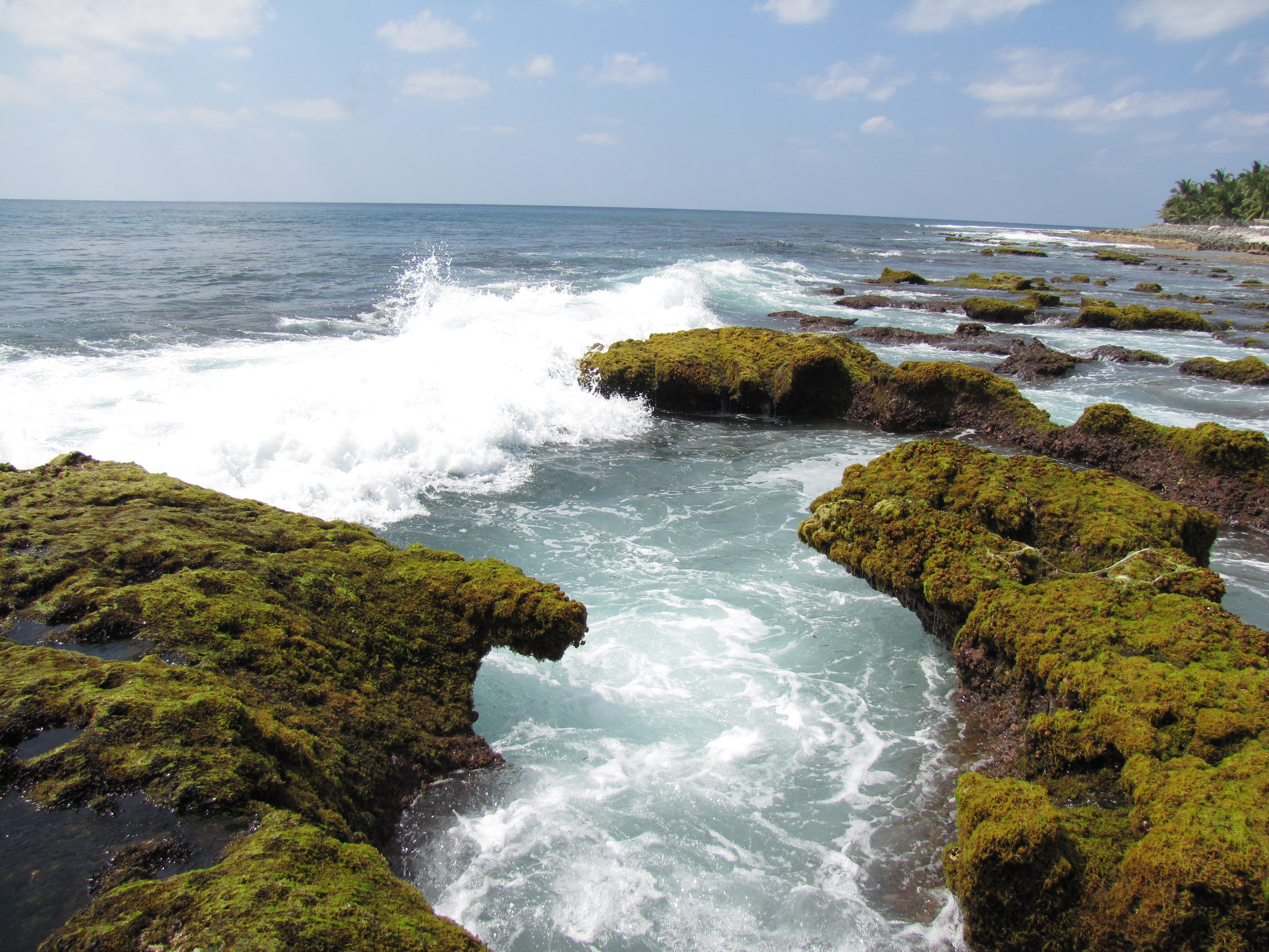 Rocky outcrops on Kalpeni island