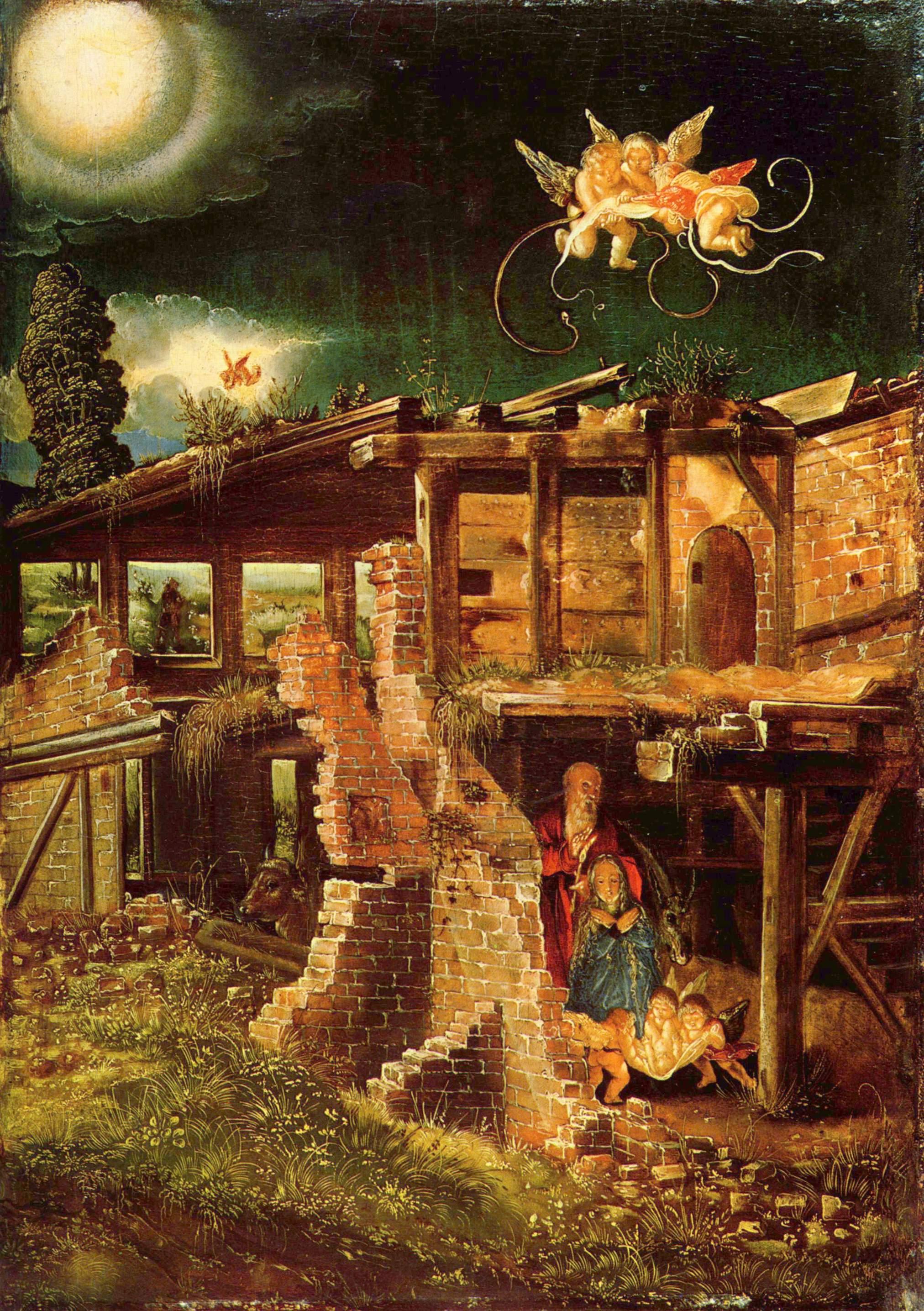 Albrecht Altdorfer (1480-1538), Die Geburt Jesu (1513) - Quelle: WikiCommons