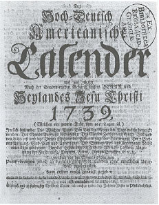 English: Front page of an almanac printed in G...