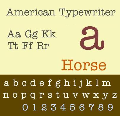 schriftart american typewriter