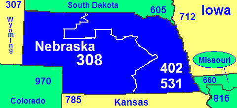 Map of Nebraska area codes in blue (with border states)