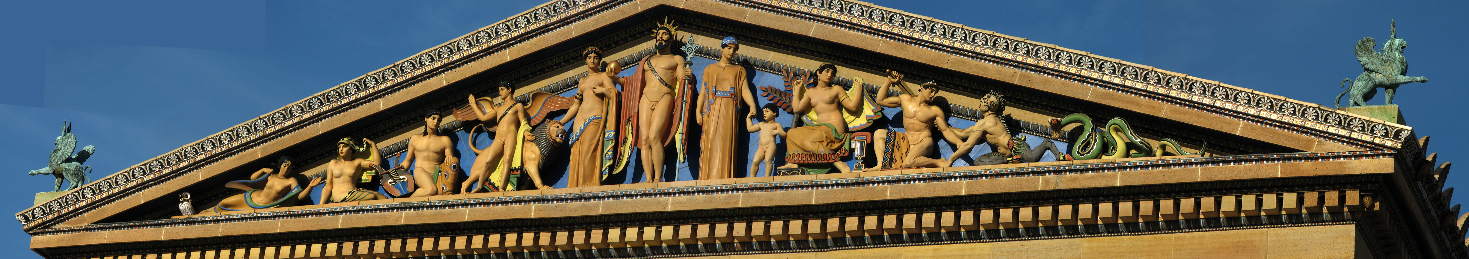 Philadelphia Art Museum terra cotta pediment using polychrome glazing