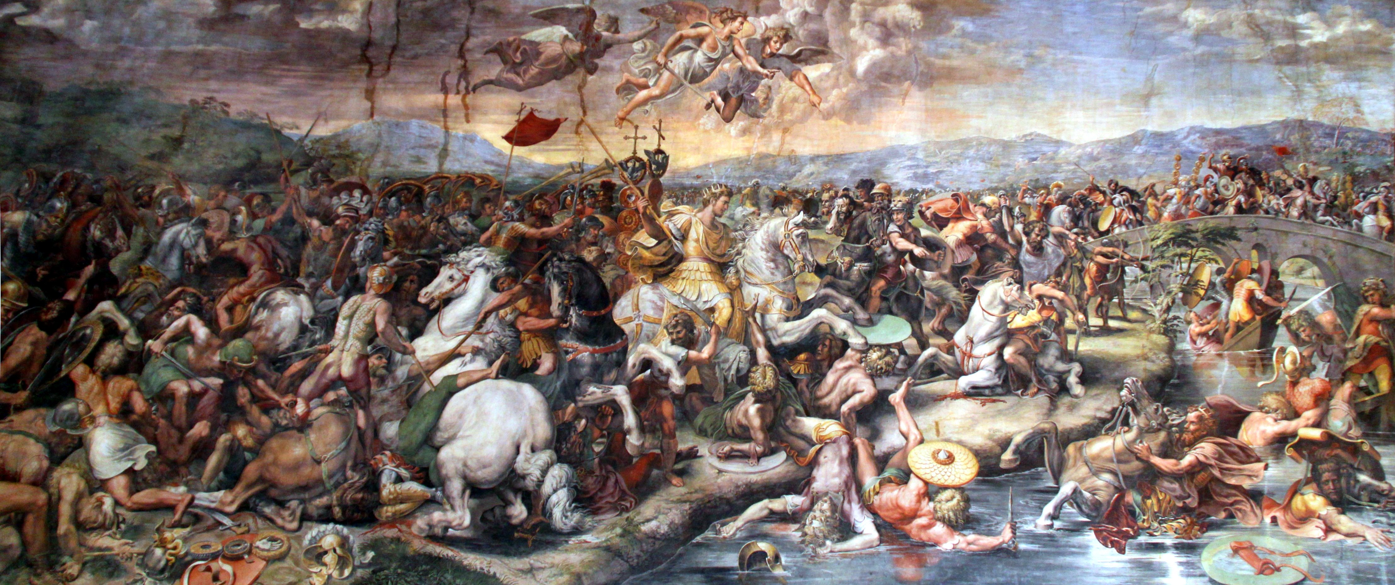 Description Battle of the Milvian Bridge by Giulio Romano, 1520-24.jpg