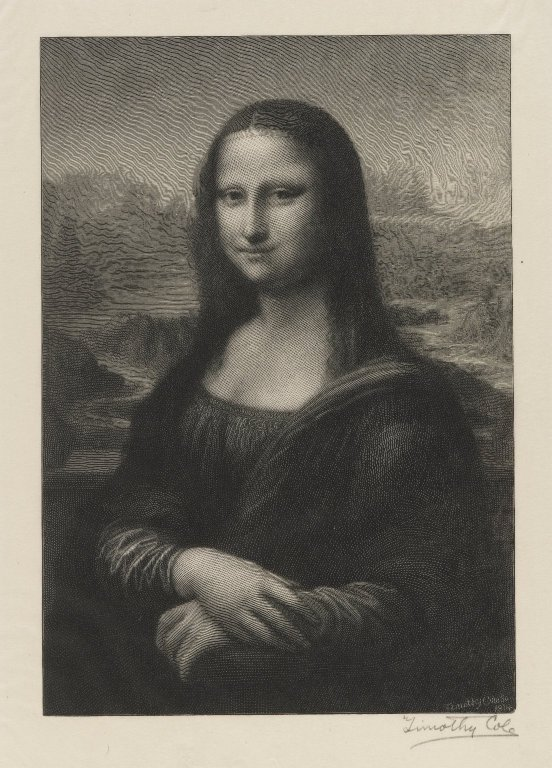 a wood engraving faithful to Leonardo's original, by Timothy Cole (1914)