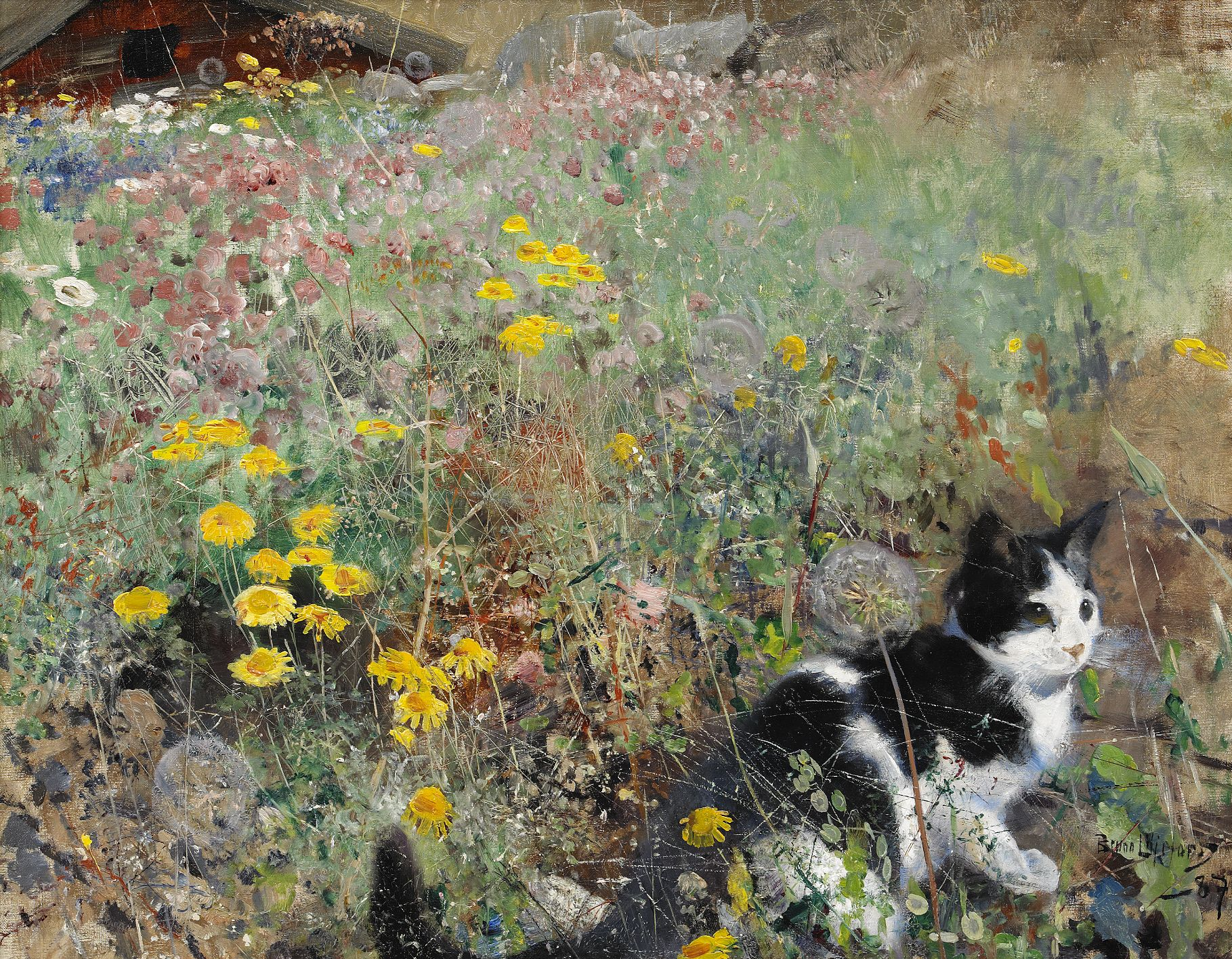 File Bruno Liljefors Cat On Flowerbed 1887 Jpg