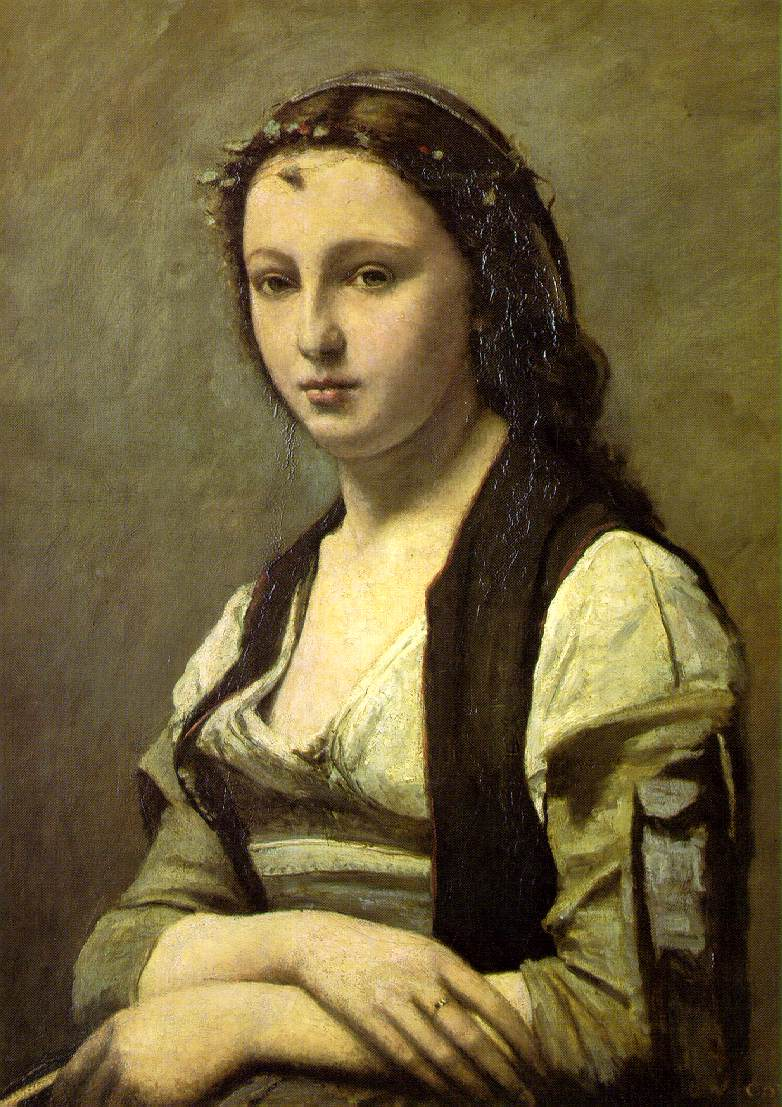 Camille Corot   Woman with a Pearl Woman with an ok sign   isolated over a white background