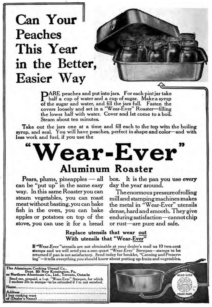 1914magazineadvertisementforcookwarewithinstructionsforhomecanning.