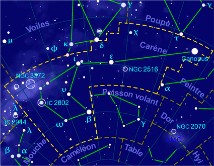 Carte pour la constellation Carène Produite à l'aide du logiciel PP3 - Grum / Korrigan - Wikimedia Commons