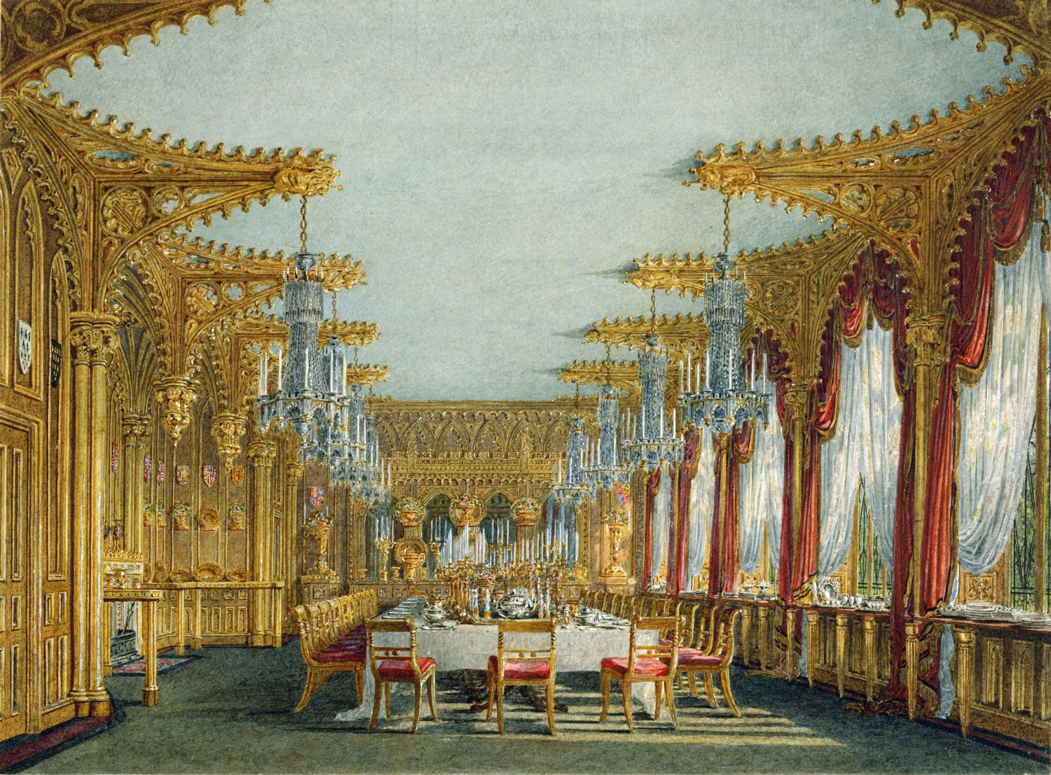 File:Carlton House, Gothic Dining Room, By Charles Wild, 1817   Royal