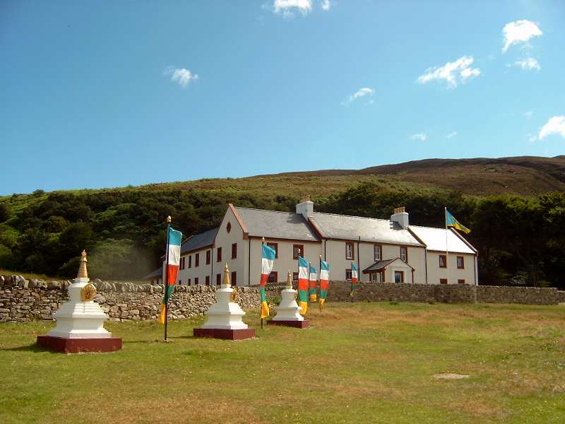 Centre for world peace on holy isle with flags.jpg