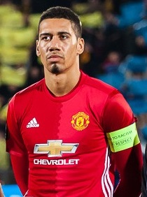 Smalling lining up for Manchester United in 2017 Chris Smalling vs Rostov 9 March 2017 (cropped).jpg