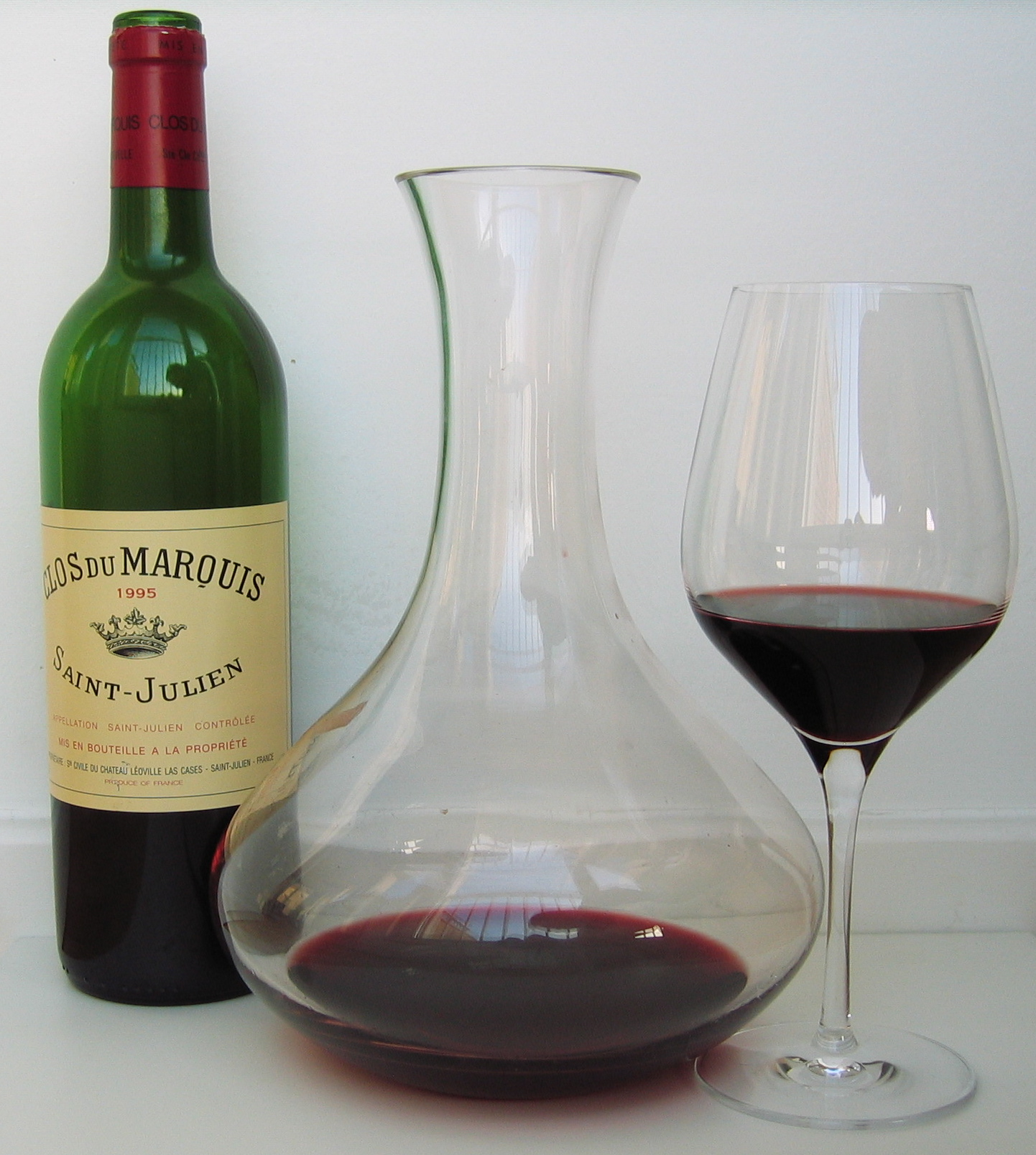 Clos du Marquis 1995 with decanter and glass.jpg