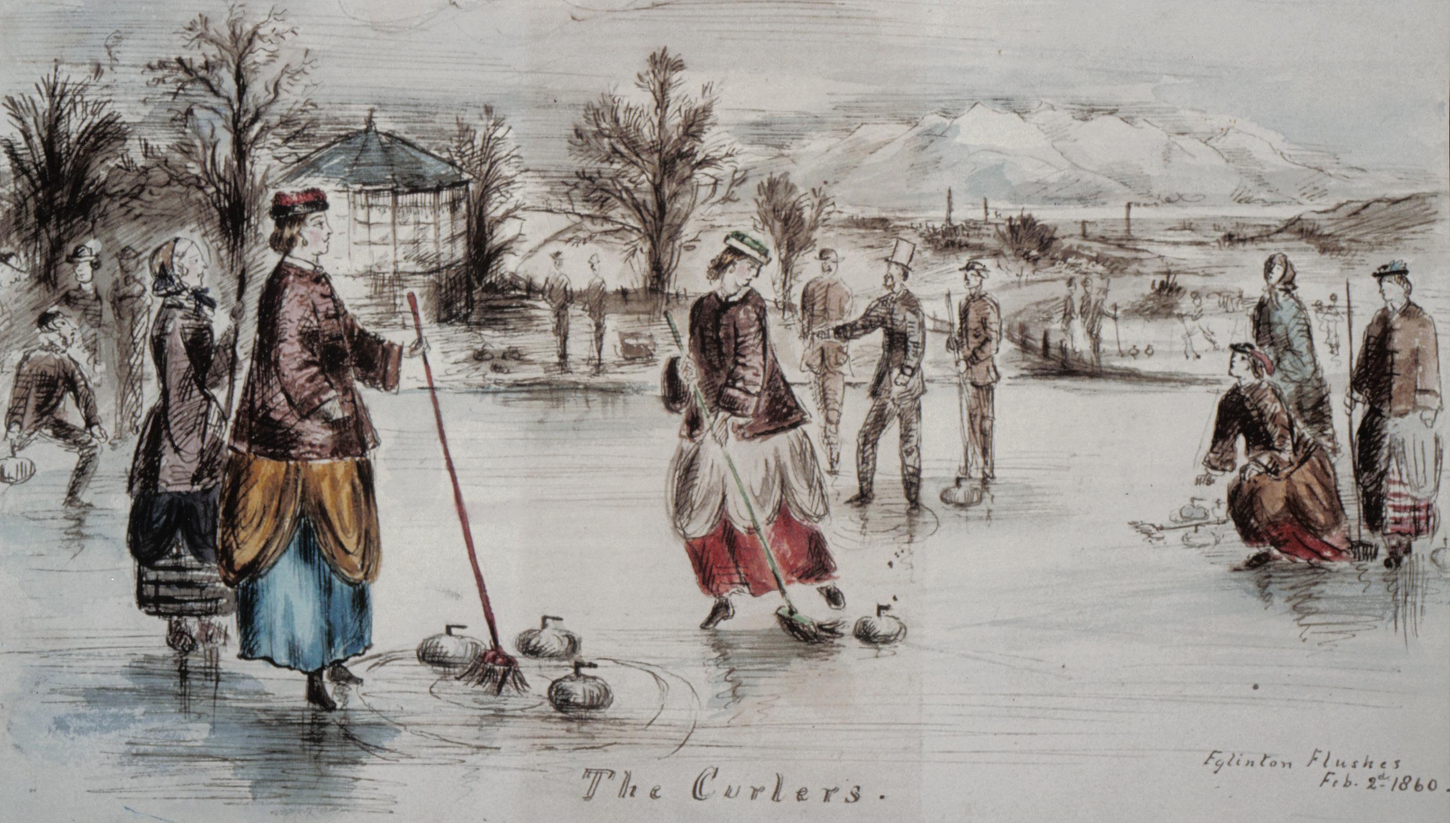 Curling_at_Eglinton_castle,_Ayrshire,_Sc
