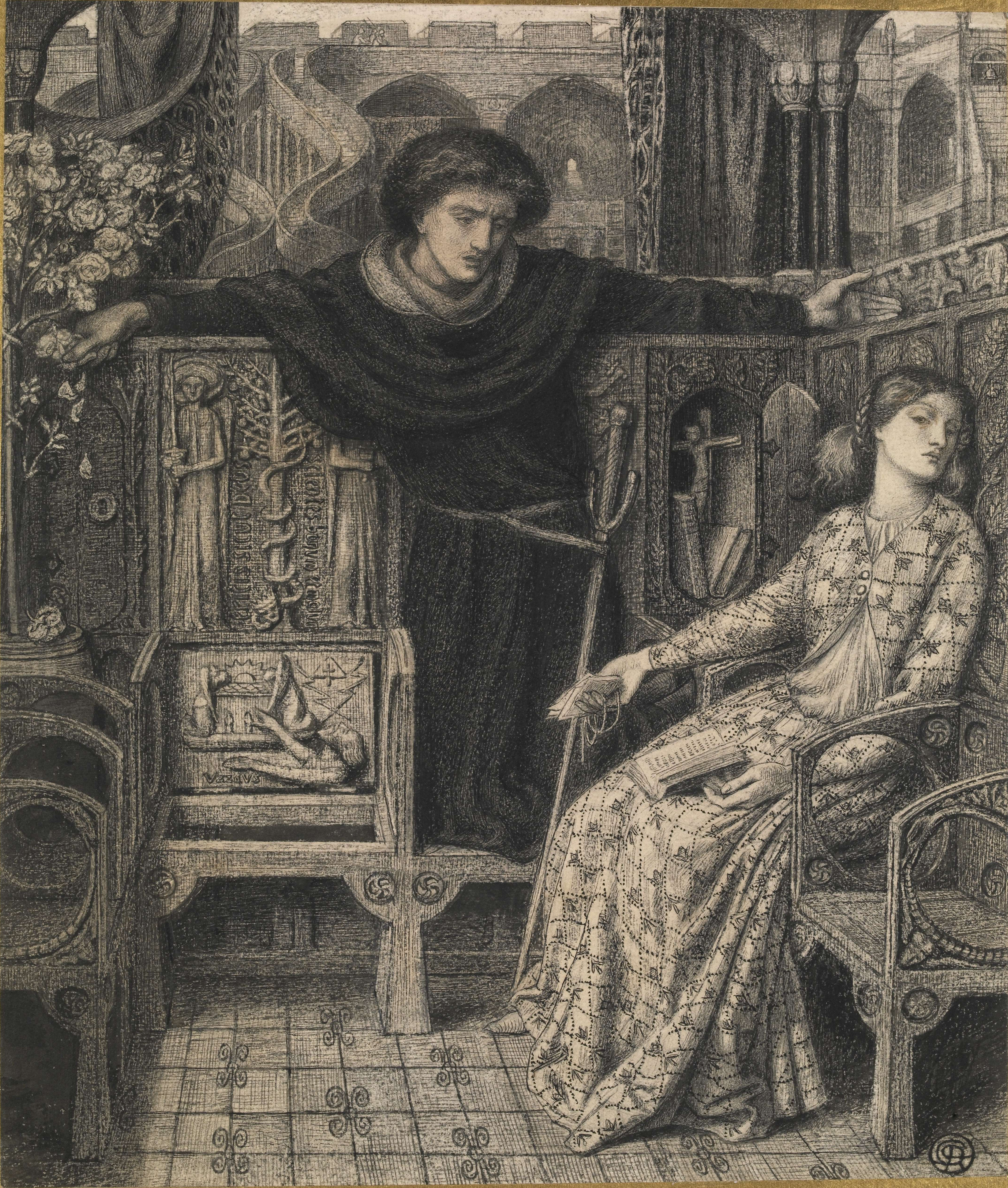 Hamlet and Ophelia by Dante Gabriel Rossetti