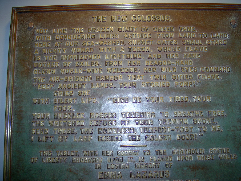 Bronze plaque inside the Statue of Liberty with the text of the poem