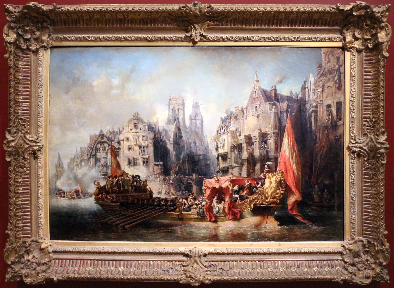 Eug¨ne isabey arrivo del duca d alba a rotterdam 1844 JPG