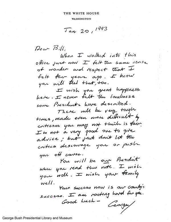 George_H._W._Bush_letter_to_incoming_pre