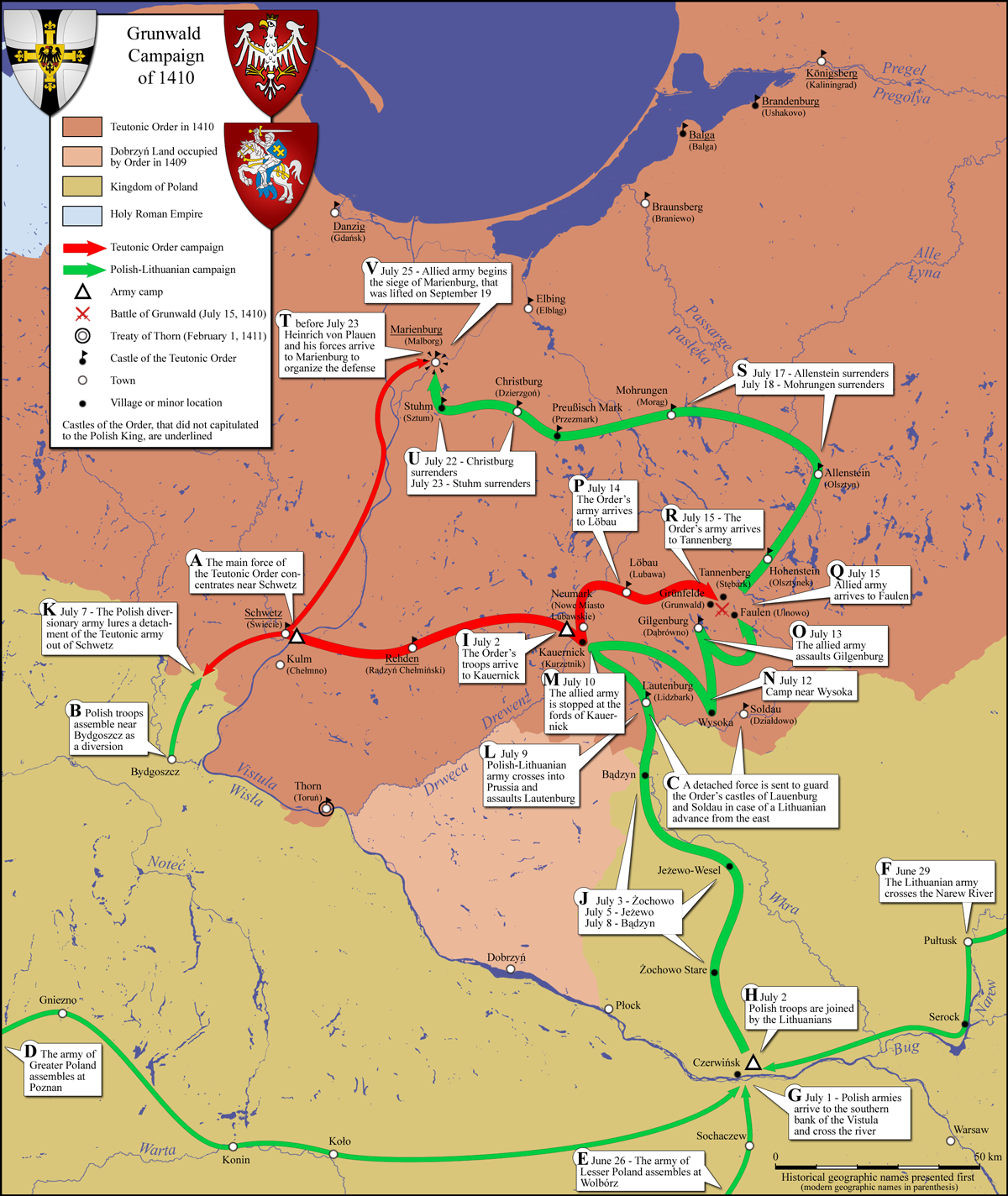 map of army movements during the Grunwald campaign
