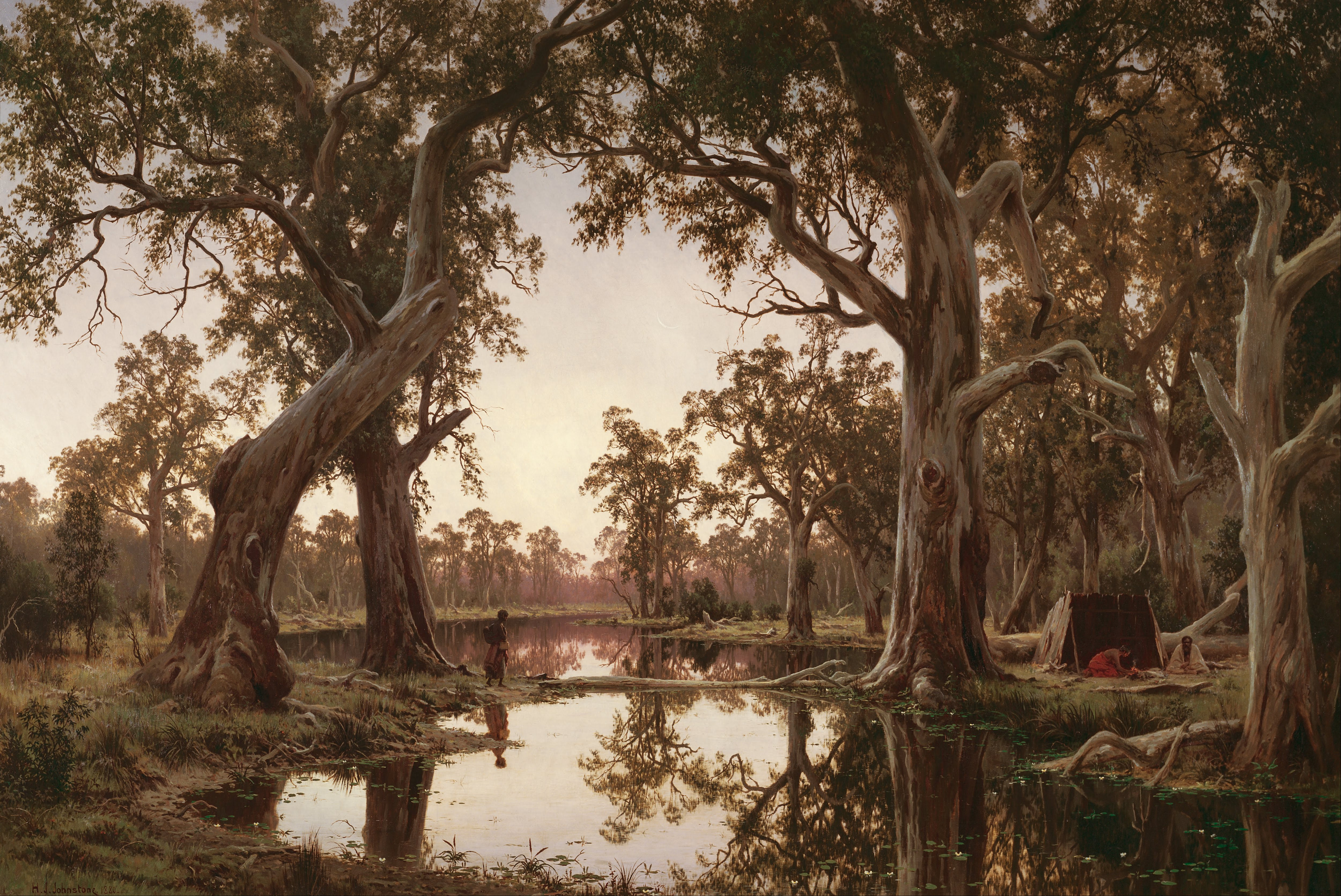 File h j johnstone evening shadows backwater of the for Australian mural artists