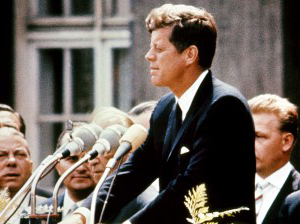 Kennedy delivering his speech in West Berlin JFKBerlinSpeech.jpg